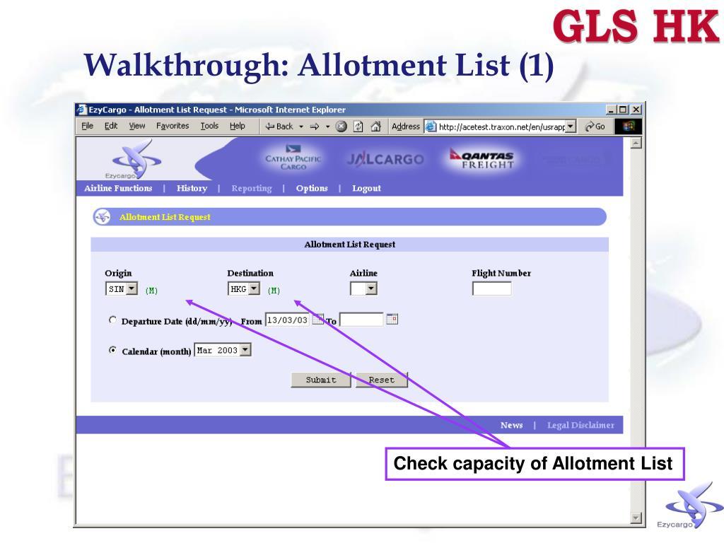 Walkthrough: Allotment List (1)