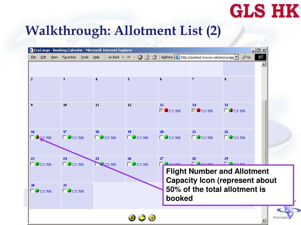 Walkthrough: Allotment List (2)
