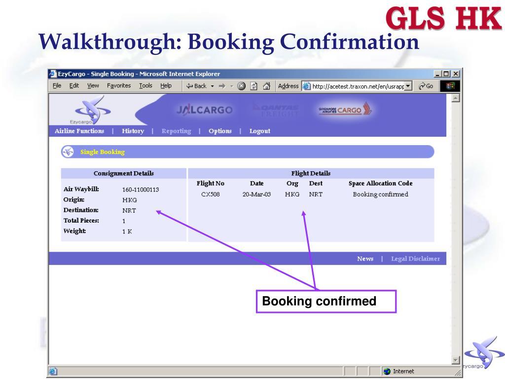 Walkthrough: Booking Confirmation