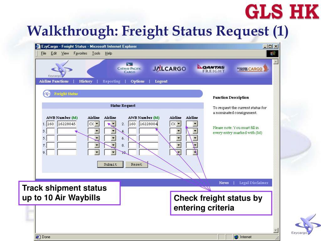 Walkthrough: Freight Status Request (1)
