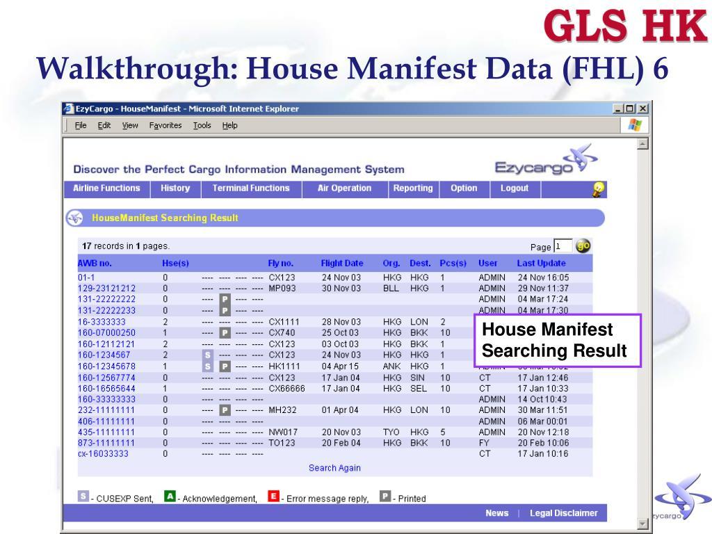 Walkthrough: House Manifest Data (FHL) 6