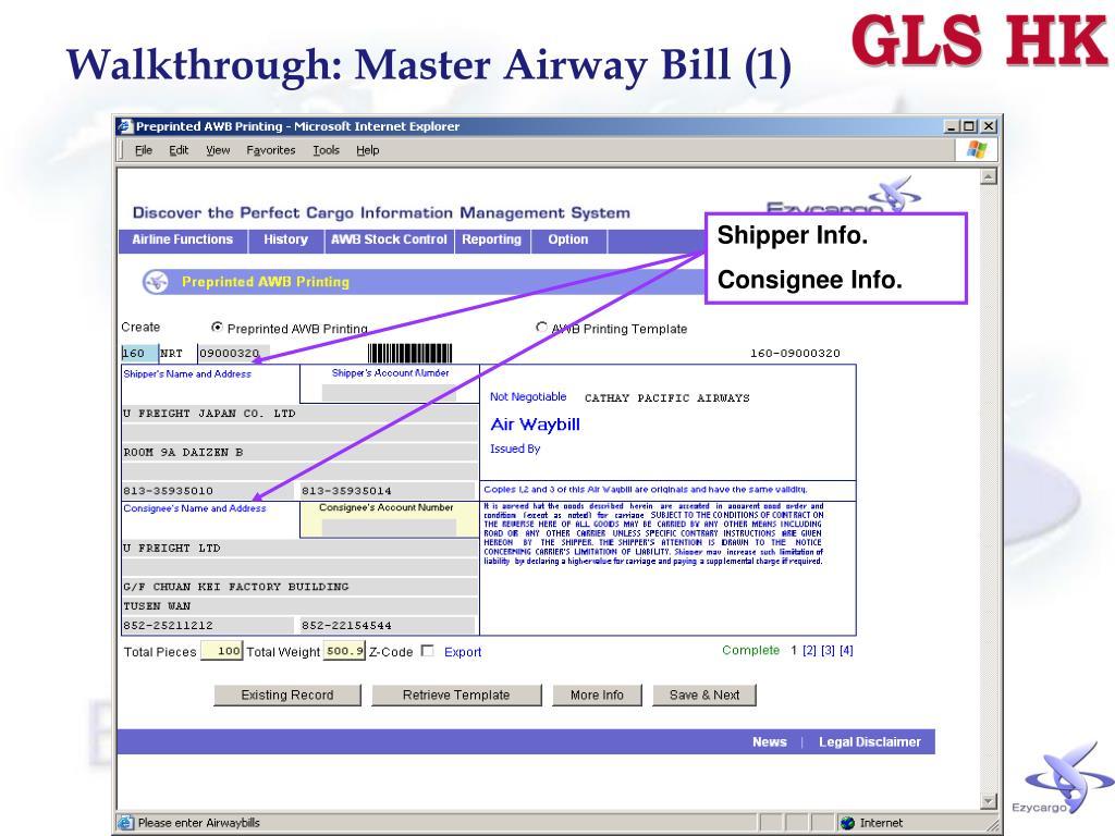 Walkthrough: Master Airway Bill (1)