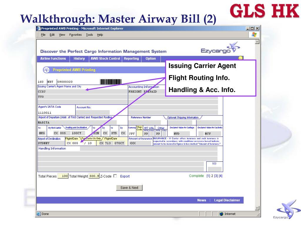 Walkthrough: Master Airway Bill (2)