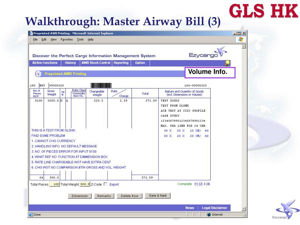 Walkthrough: Master Airway Bill (3)