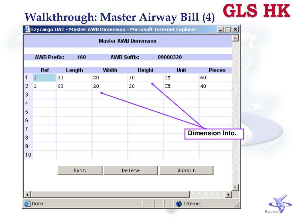 Walkthrough: Master Airway Bill (4)