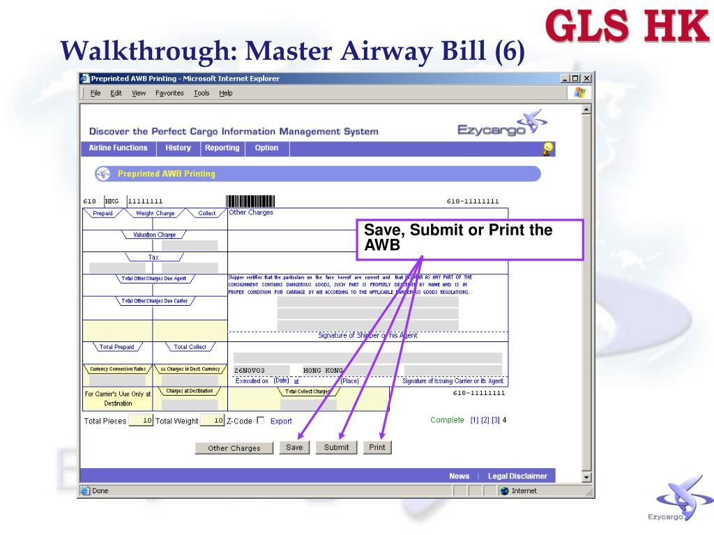 Walkthrough: Master Airway Bill (6)