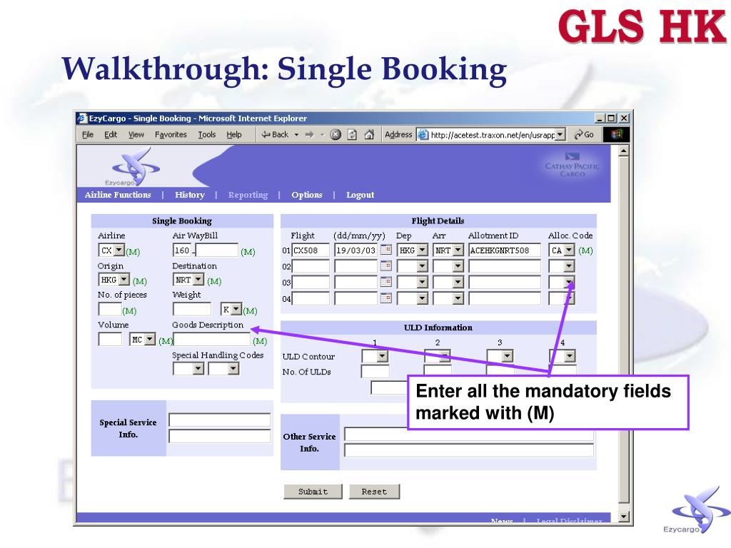 Walkthrough: Single Booking