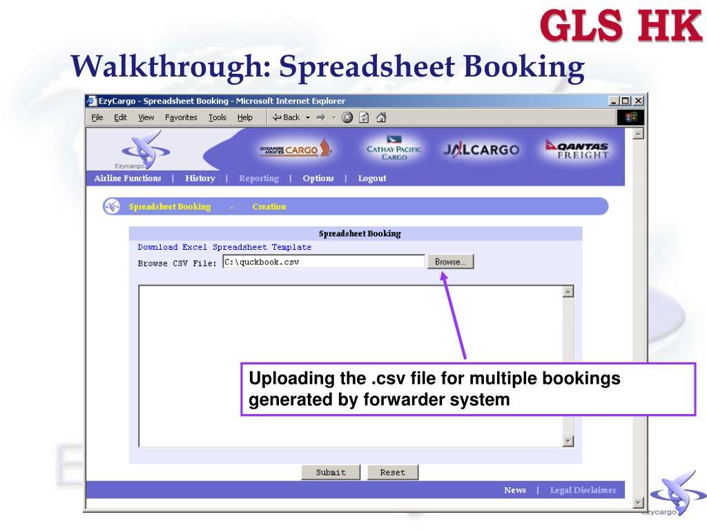 Walkthrough: Spreadsheet Booking