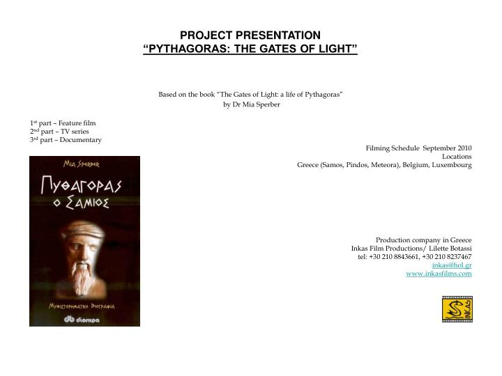Project presentation pythagoras the gates of light