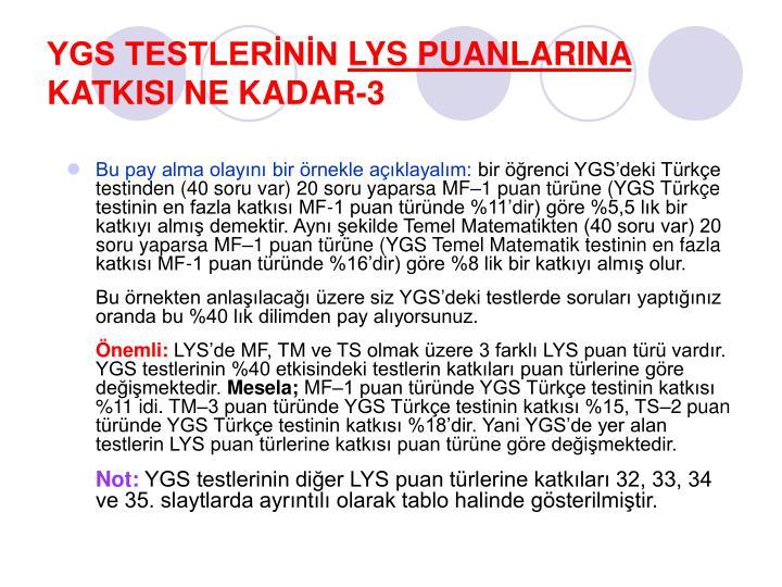YGS TESTLERİNİN