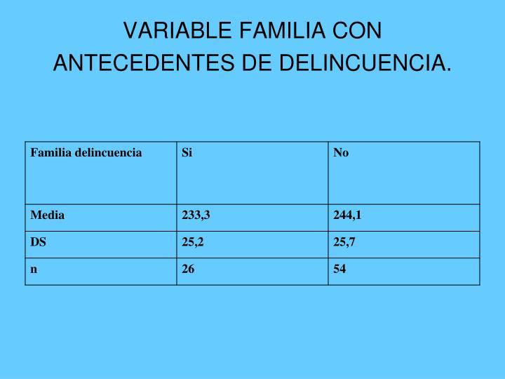 VARIABLE FAMILIA CON ANTECEDENTES DE DELINCUENCIA.