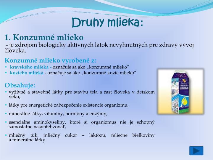 Druhy mlieka