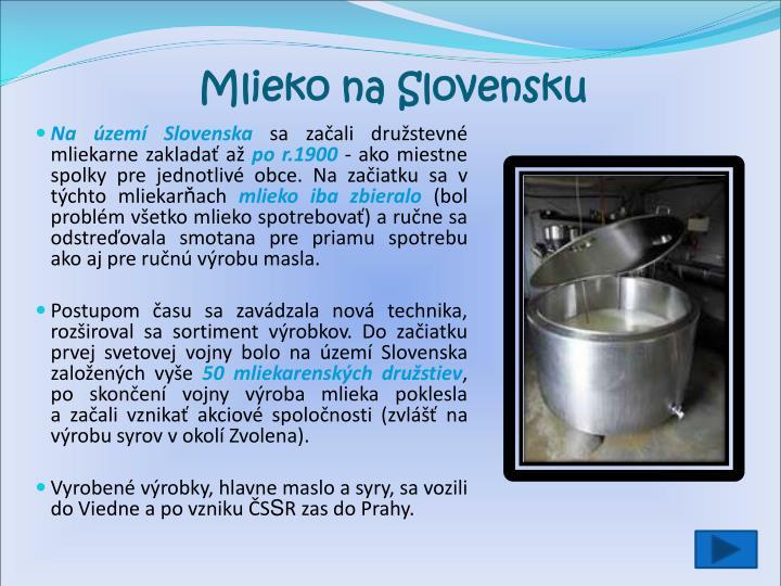 Mlieko na Slovensku