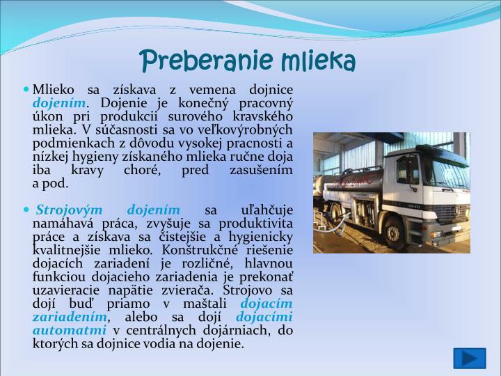 Preberanie mlieka