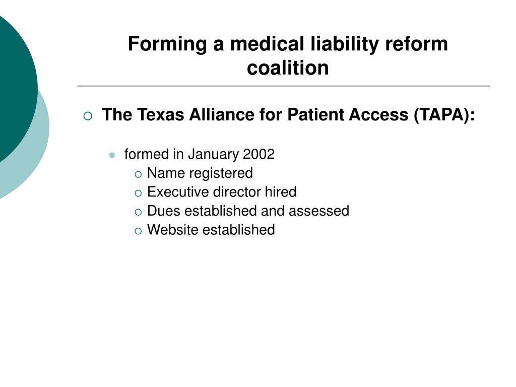 Forming a medical liability reform coalition