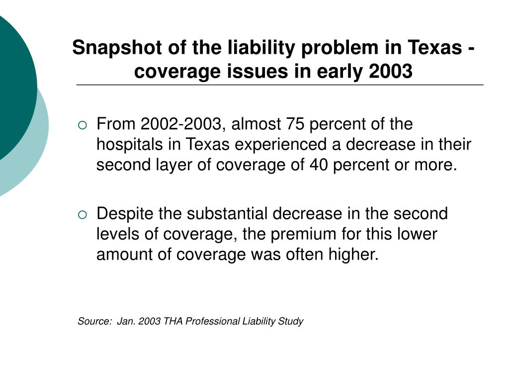 Snapshot of the liability problem in Texas -  coverage issues in early 2003