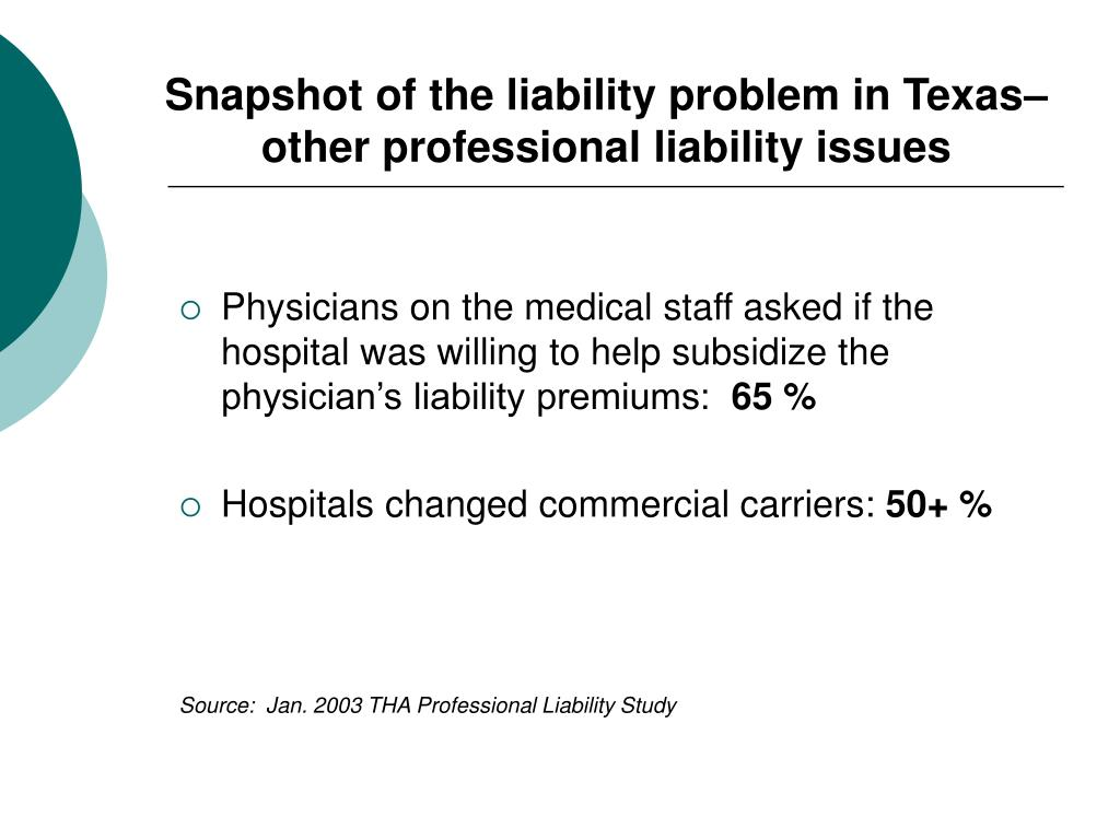 Snapshot of the liability problem in Texas– other professional liability issues