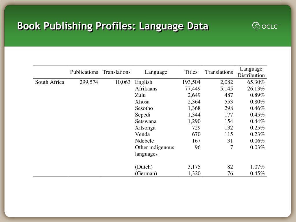Book Publishing Profiles: Language Data