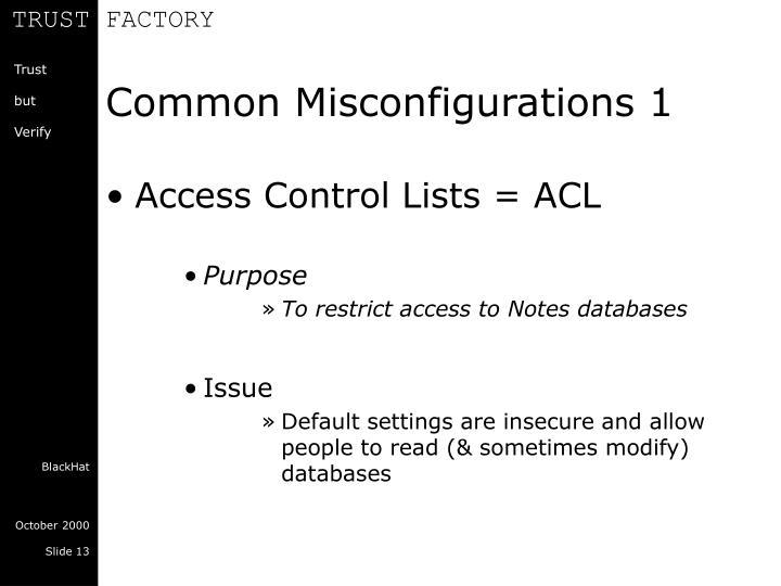 Common Misconfigurations 1