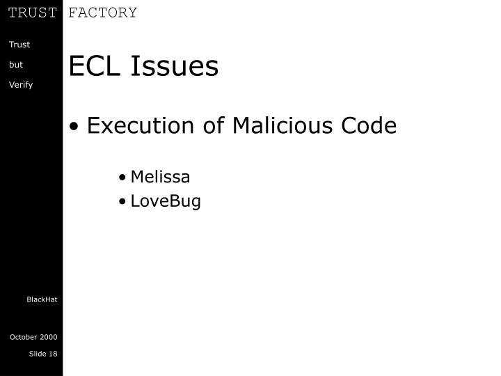 ECL Issues