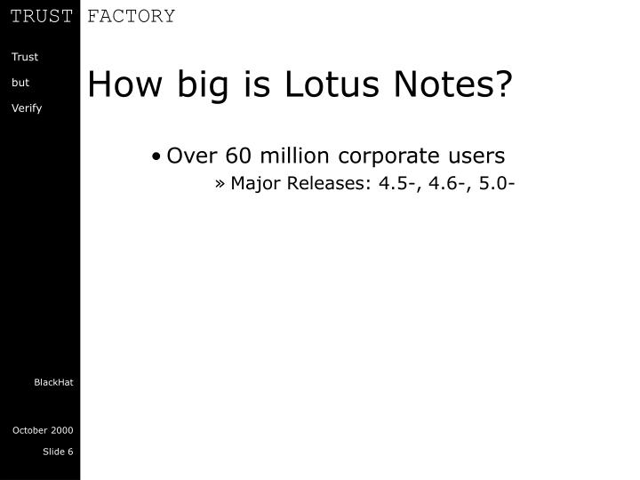 How big is Lotus Notes?