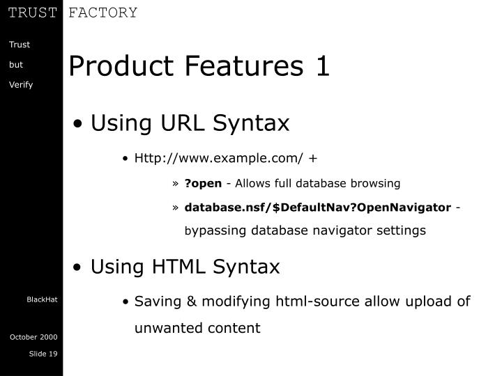 Product Features 1
