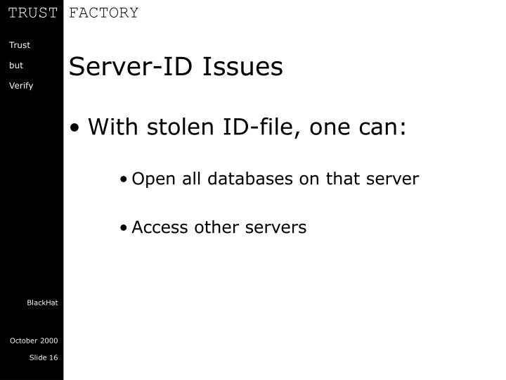 Server-ID Issues