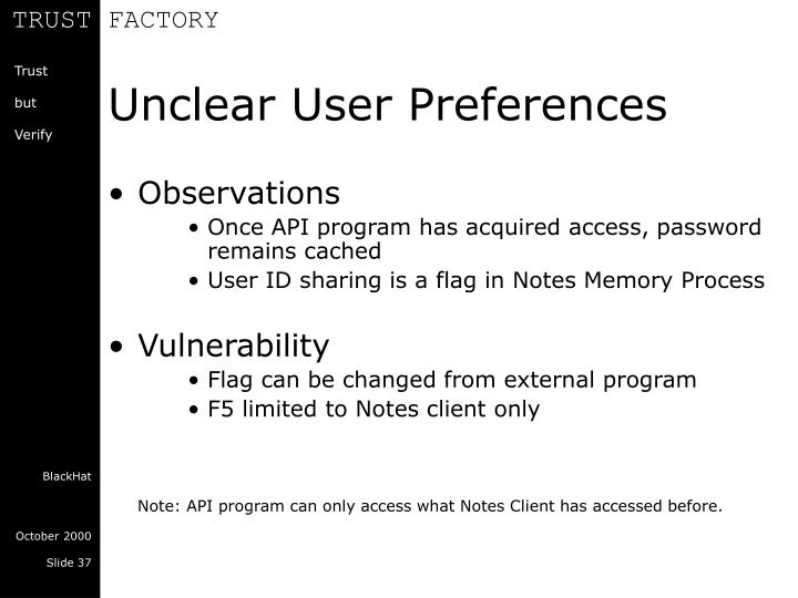 Unclear User Preferences