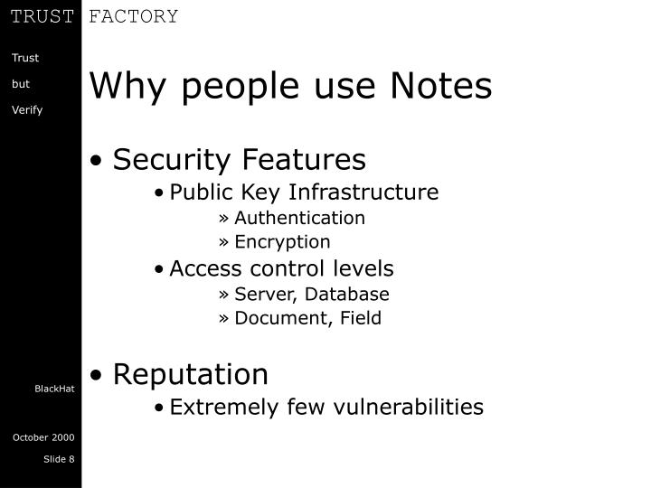 Why people use Notes