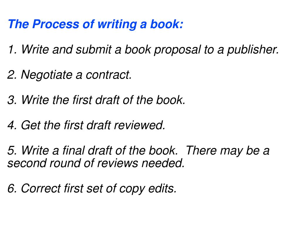 The Process of writing a book: