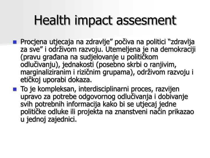 Health impact assesment