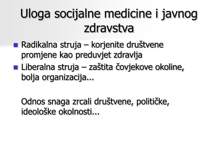 Uloga socijalne medicine i javnog zdravstva
