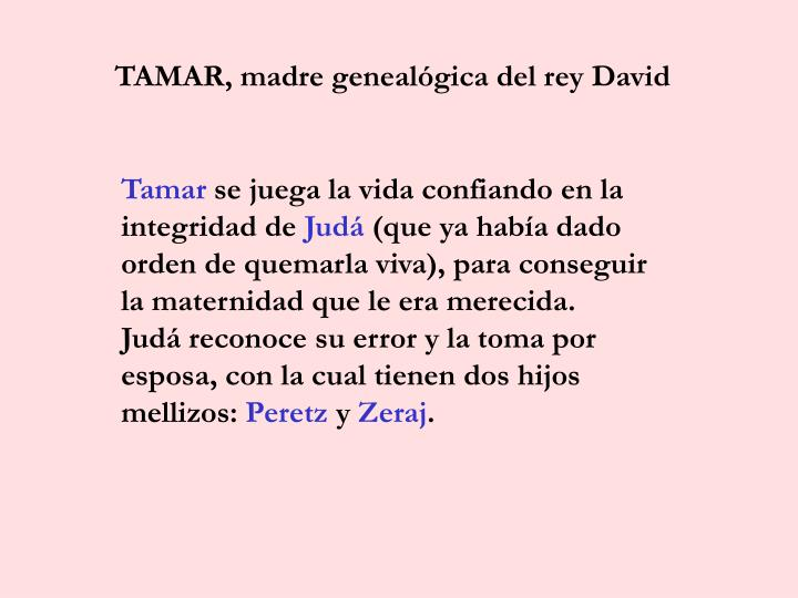 TAMAR, madre genealógica del rey David