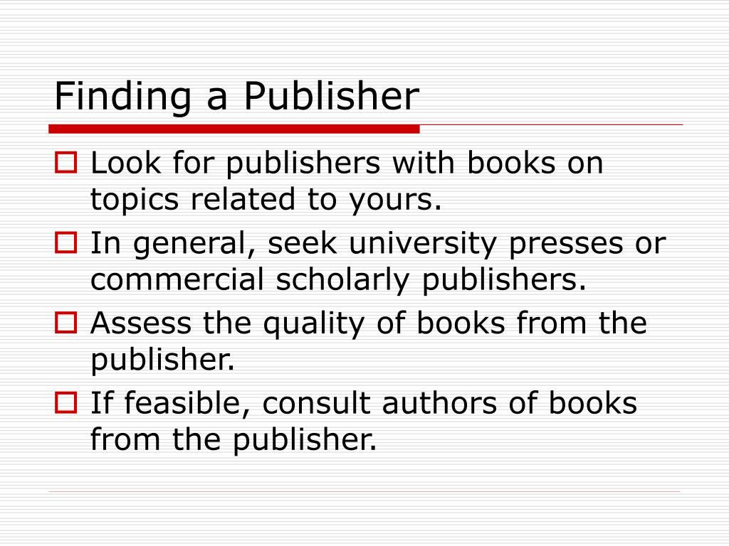 Finding a Publisher