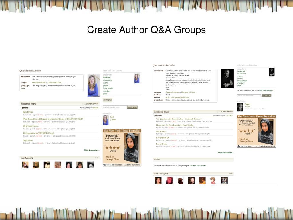 Create Author Q&A Groups
