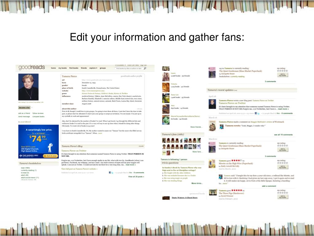 Edit your information and gather fans:
