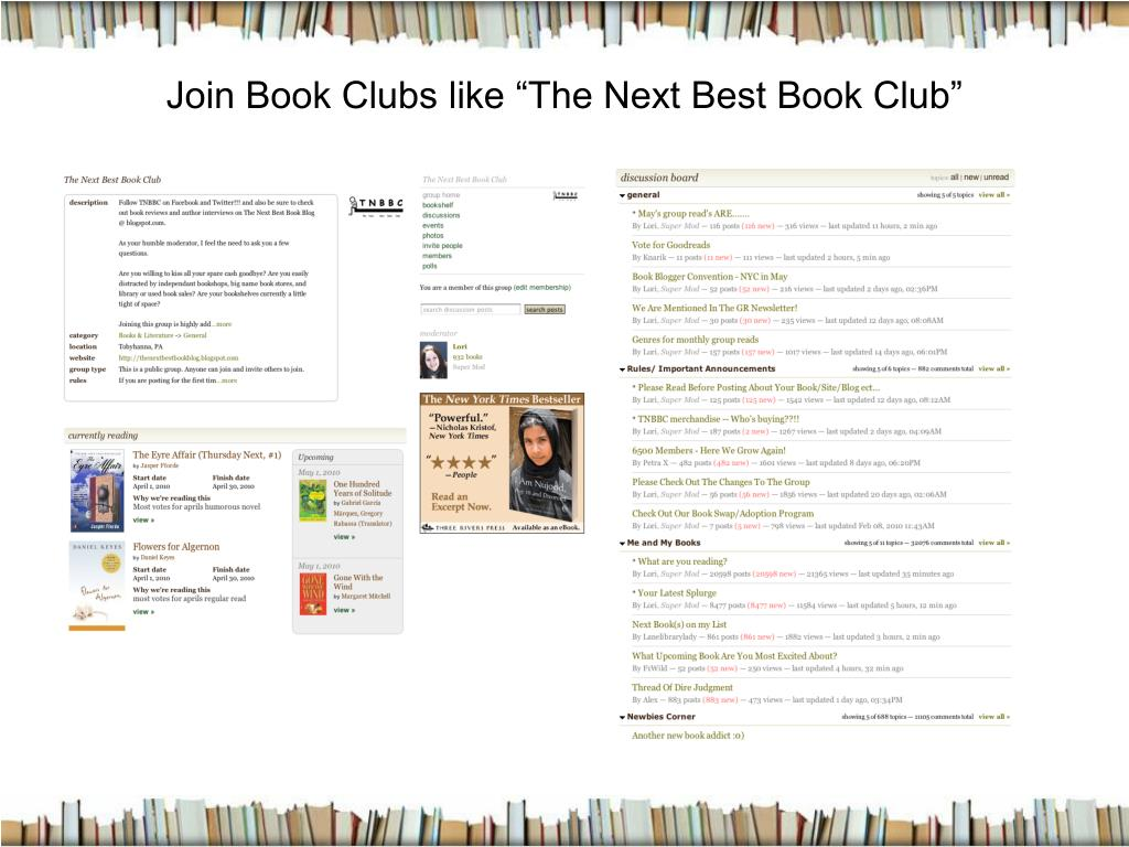 "Join Book Clubs like ""The Next Best Book Club"""