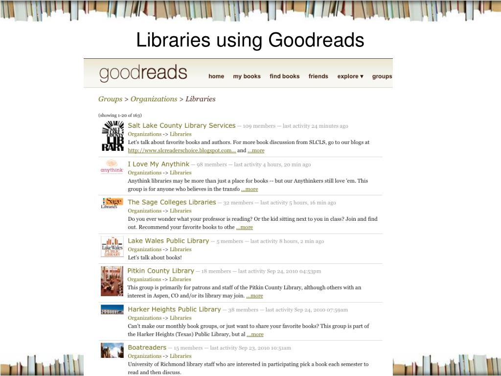 Libraries using Goodreads