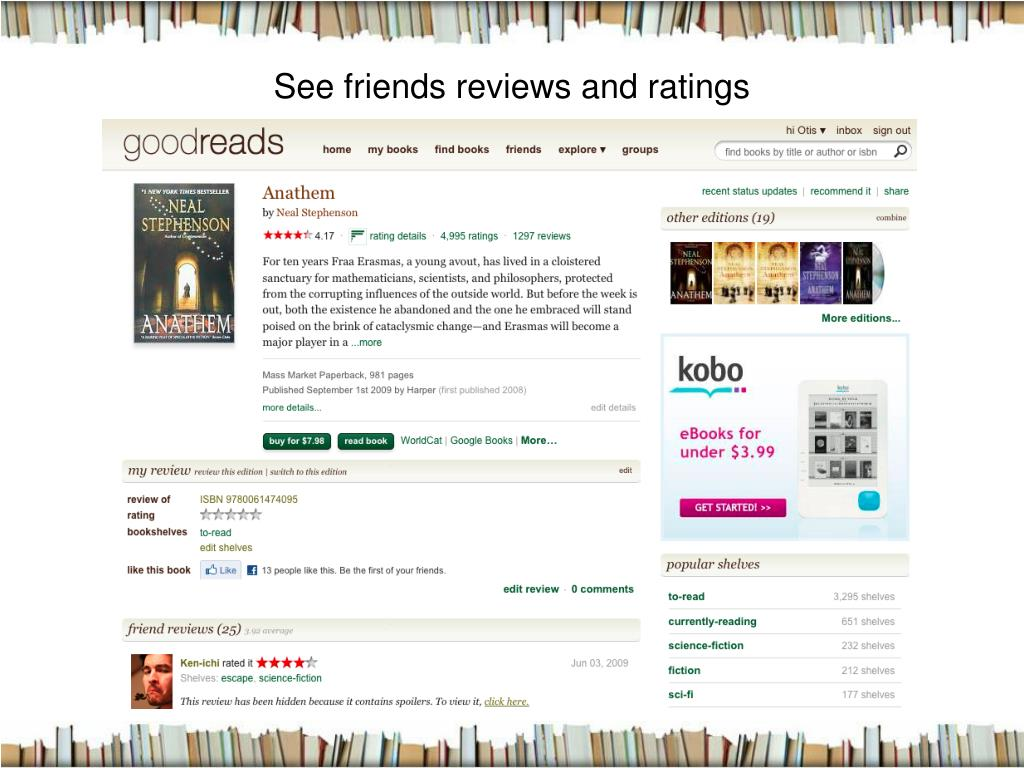 See friends reviews and ratings
