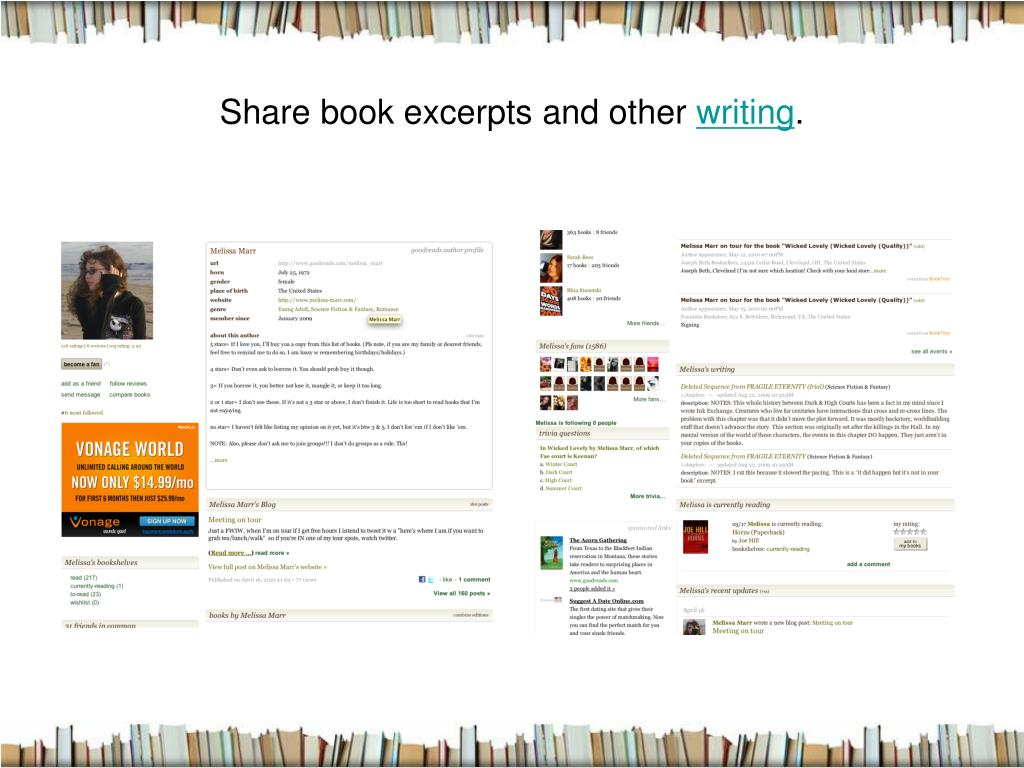 Share book excerpts and other