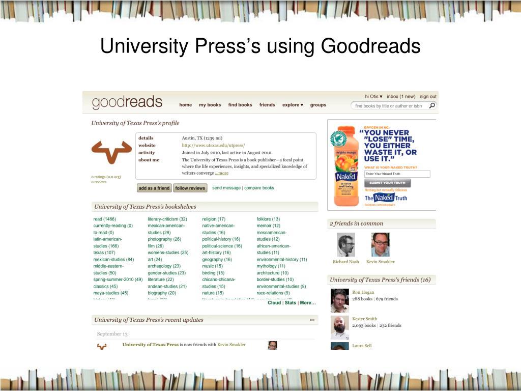 University Press's using Goodreads