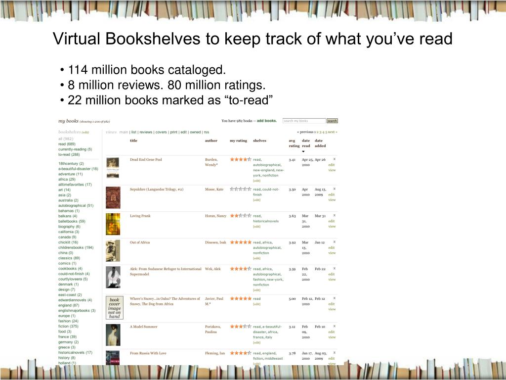 Virtual Bookshelves to keep track of what you've read