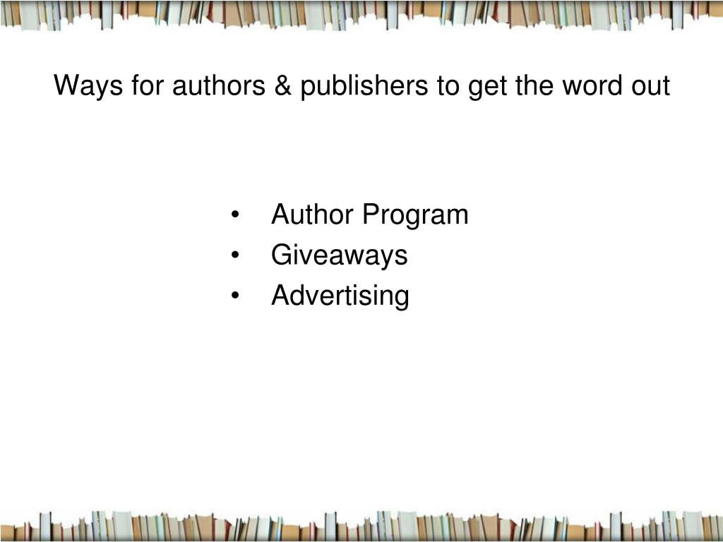 Ways for authors & publishers to get the word out