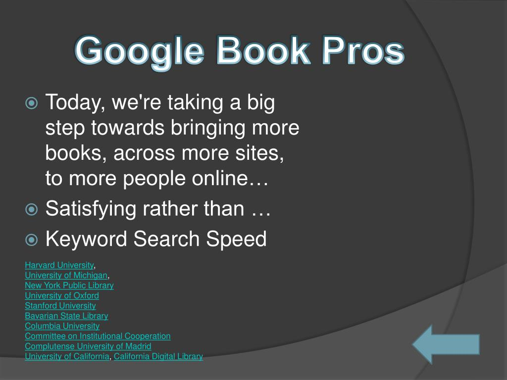 Google Book Pros