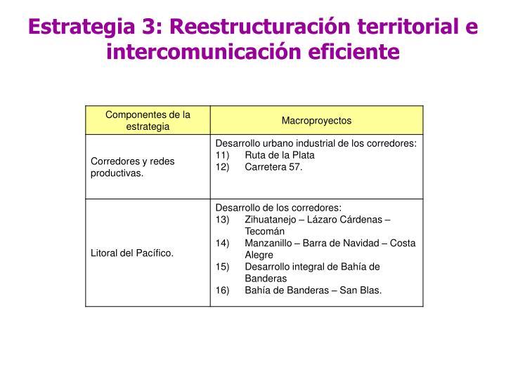 Estrategia 3: Reestructuración territorial e intercomunicación eficiente