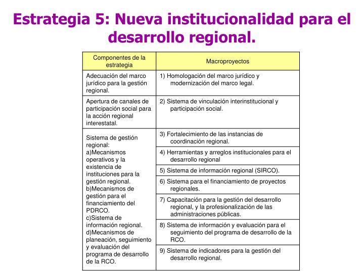 Estrategia 5: Nueva institucionalidad para el desarrollo regional.