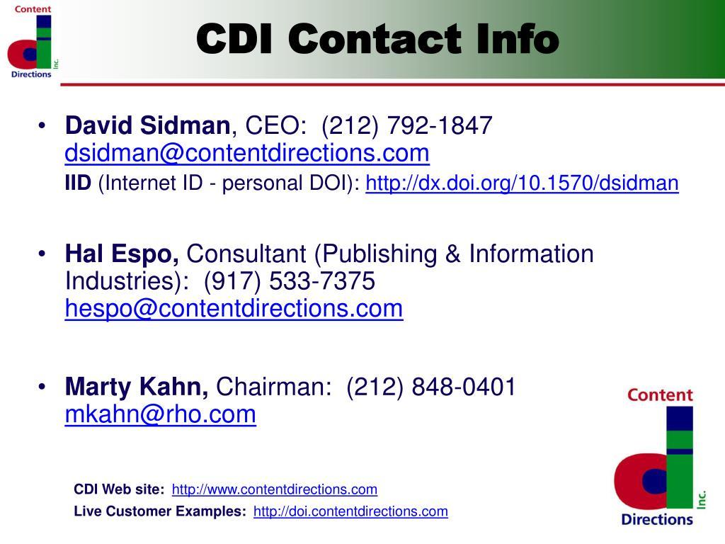 CDI Contact Info