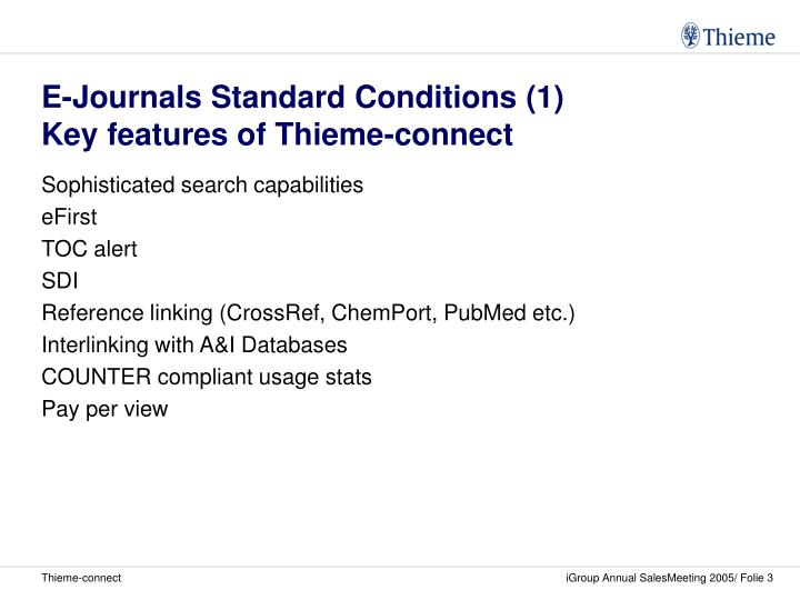 E journals standard conditions 1 key features of thieme connect
