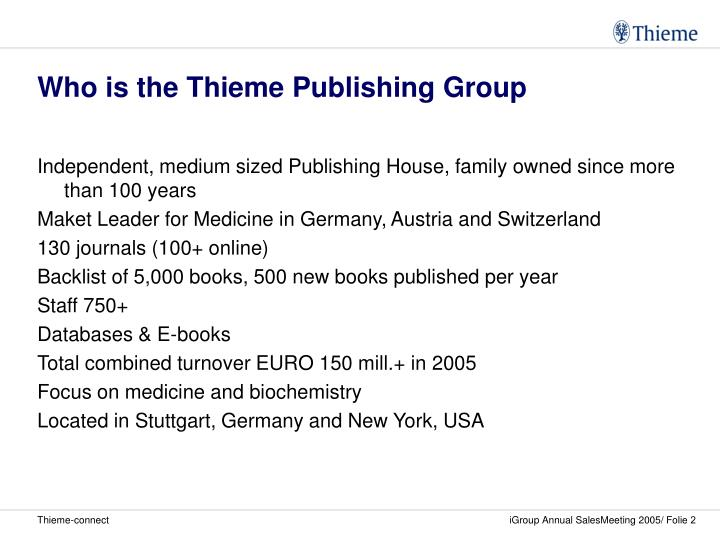Who is the thieme publishing group