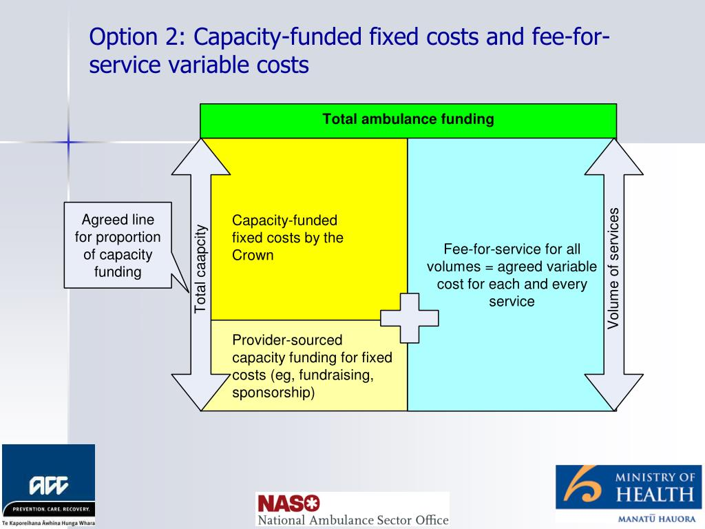 Option 2: Capacity-funded fixed costs and fee-for-service variable costs